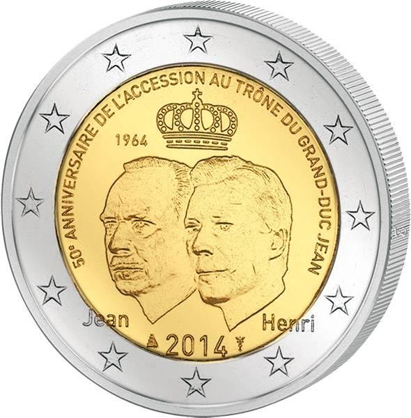 2 Euro Luxemburg 50 Jahre Thronbesteigung Großherzog Jean 2014 prägefrisch