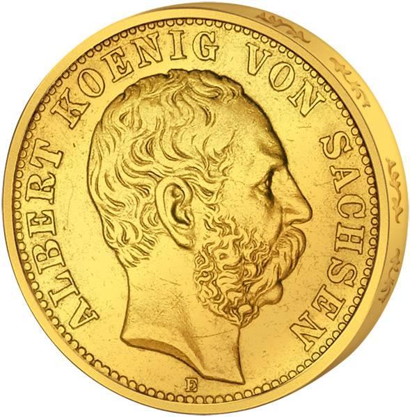 10 Mark Sachsen Albert I. kleiner Reichsadler 1874-1888 Sehr schön