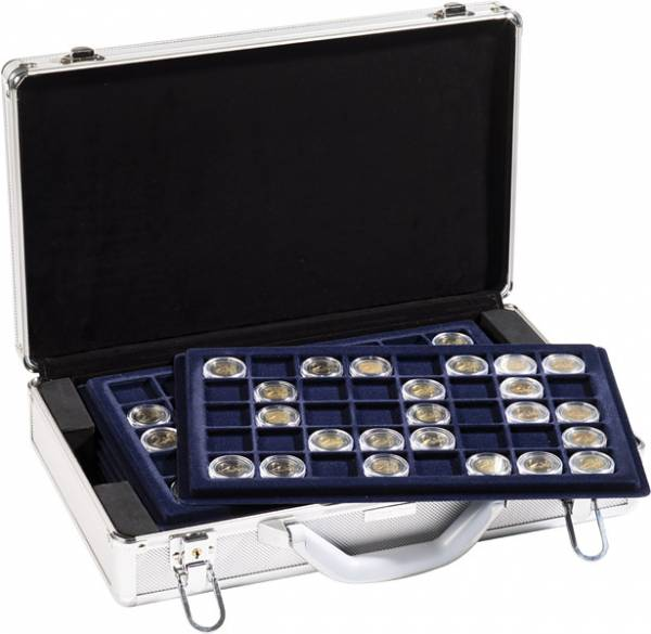 Münzkoffer mit 6 Tableaus für 240 Münzen