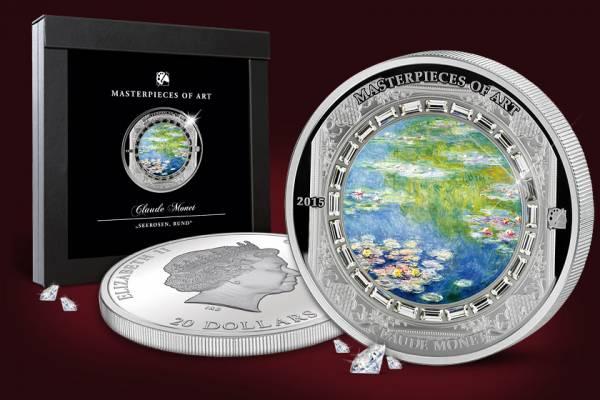 20 Dollars Cook-Inseln Claude Monet Seerosen 2015   Polierte Platte