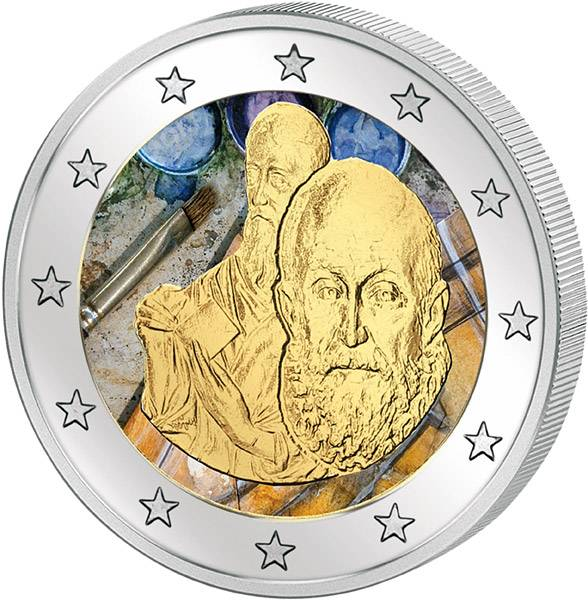 2 Euro Griechenland 400. Todestag El Greco mit Farb-Applikation