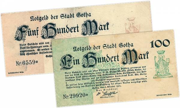 100 und 500 Mark Gotha 1922 Weimar