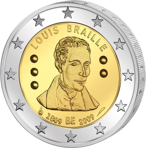 2 Euro Belgien 200 Geburtstag Louis Braille