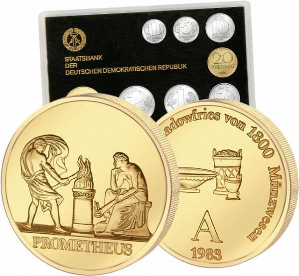1 Pfennig - 2 Mark DDR Kursmünzensatz inkl. Gedenkprägung 1983   Stempelglanz