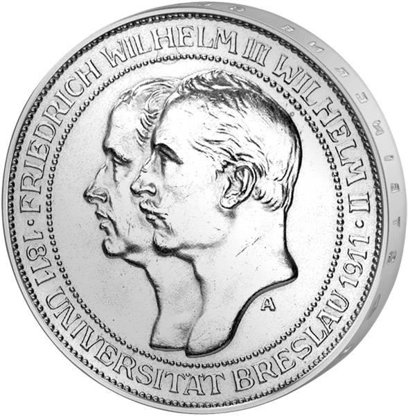 3 Mark Preußen Uni Breslau 1911 Vorzüglich