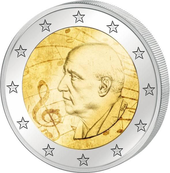 2 Euro Griechenland 120. Geburtstag von Dimitri Mitropoulos 2016 mit Farb-Applikation