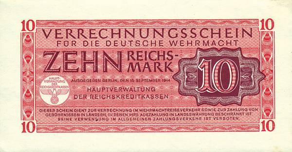 10 Reichsmark Verrechnungsschein für die Deutsche Wehrmacht