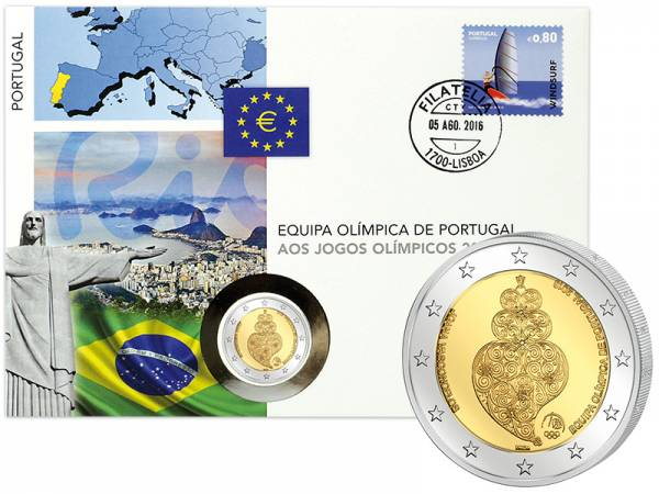2 Euro Numisbrief Portugal Olympische Spiele in Rio de Janeiro 2016
