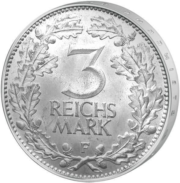 3 Mark Weimarer Republik Adler/Eichenlaub 1931 ss-vz