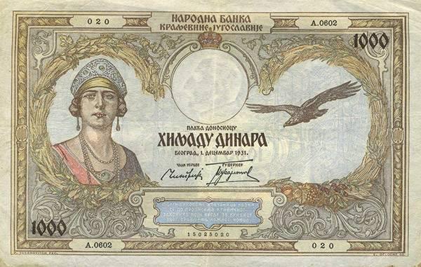 1.000 Dinara Königreich Jugoslawien Königin Maria von Hohenzollern-Sigmaringen