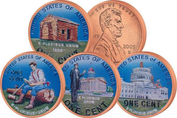 4 x 1 Cent USA mit Farb-Applikation Abraham Lincoln 2009  Stempelglanz