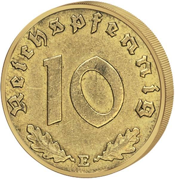 10 Reichspfennig Hakenkreuz 1936-39 ss-vz