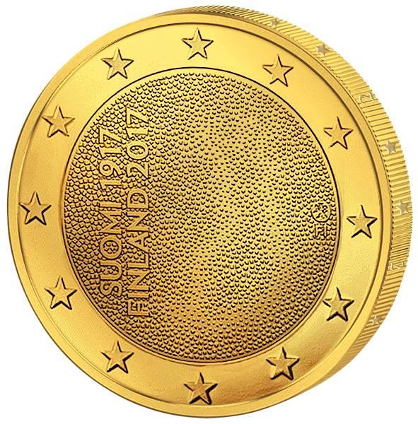 2 Euro Finnland 100 Jahre Unabhängigkeit 2017 vollvergoldet