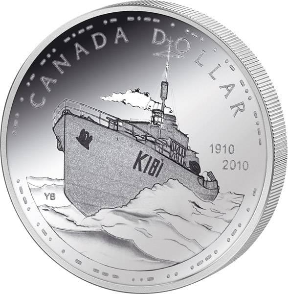 1 Dollar Kanada 100 Jahre Canadian Navy 2010 Polierte Platte