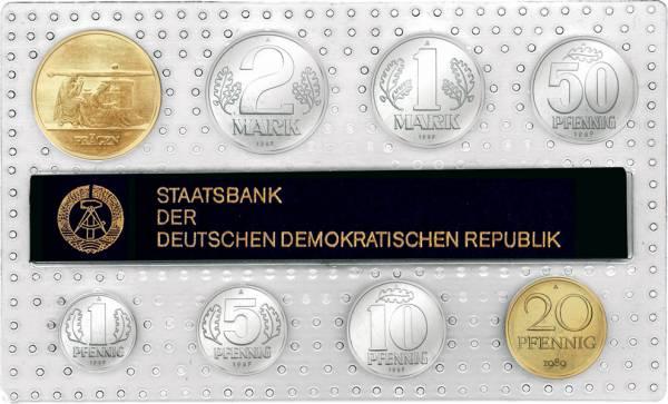 1 Pf-2 Mk (8 Werte) DDR Kursmünzensatz inkl. Gedenkprägung Prägen 1989 prägefrisch