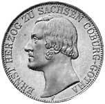 Doppeltaler Ernst Herzog von Sachsen-Coburg 1847 Silber Sehr schön