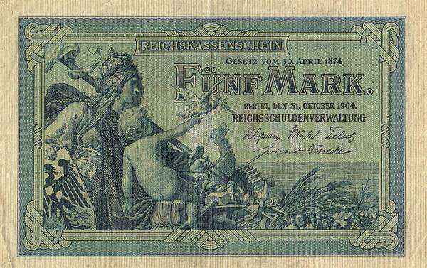 5 Mark  Drittes Reich Germania  1904  zirkuliert-gut erhalten