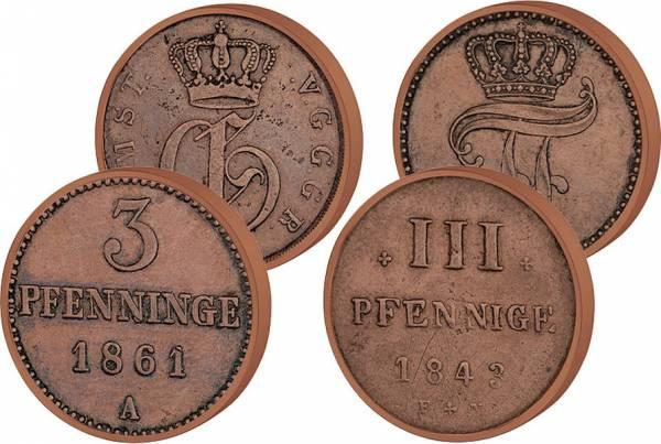 2 x 3 Pfennige Großherzog Friedrich Franz II. und Georg