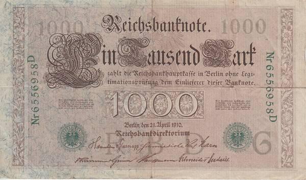 1.000 Mark Deutschland grünes Siegel 21.04.1910