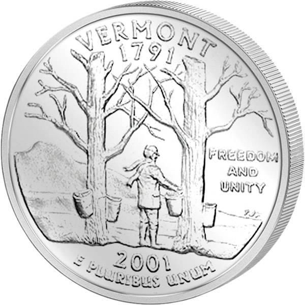 Quarter Dollar USA Vermont 2001