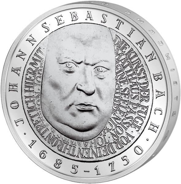 10 DM Münze BRD 250. Todestag Johann Sebastian Bach 2000 vorzüglich