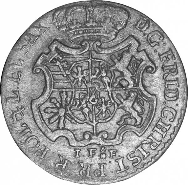 1/12 Taler Sachsen Kurfürst Friedrich Christian 1763 Sehr schön