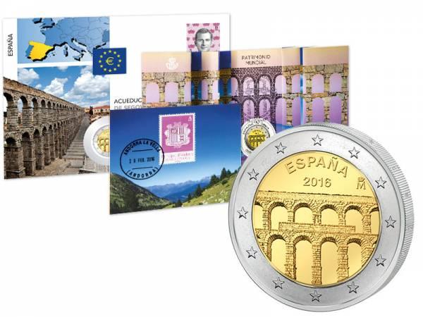 2 Euro Numisbrief Spanien UNESCO-Welterbe Aquädukt von Segovia 2016