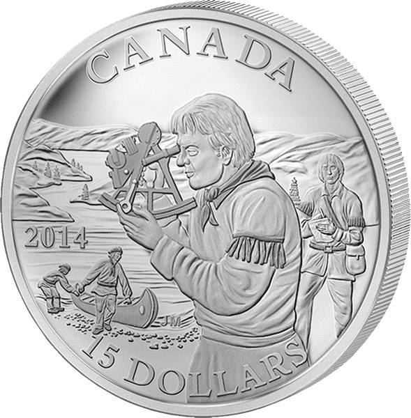 15 Dollars Kanada Pioniere der Kartenzeichnung 2014   Polierte Platte