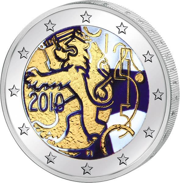 2 Euro Finnland 150 Jahre Finnische Währung mit Farb-Applikation 2010 prägefrisch