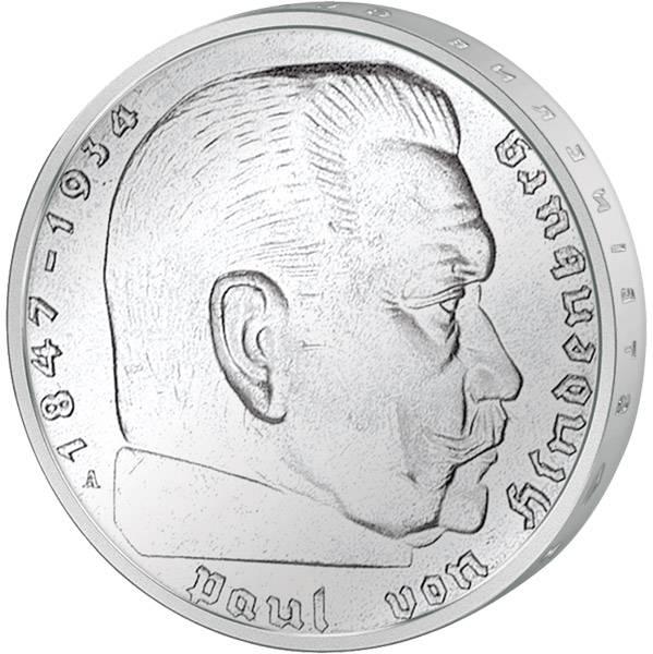 2 x 5 Reichsmark Hindenburg und Kirche 1934-1936 sehr schön