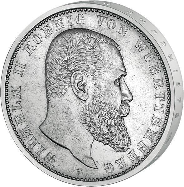 5 Mark Württemberg Wilhelm II. 1892-1913 Sehr schön