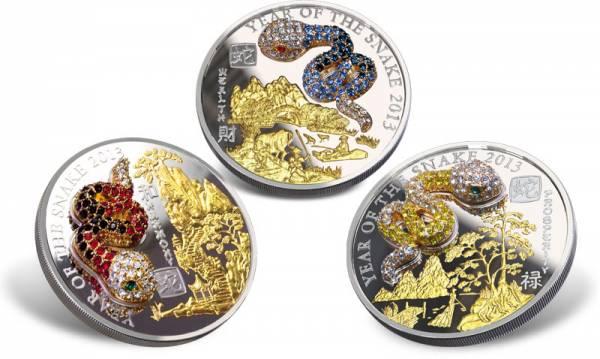 3 x 500 Francs Ruanda Jahr der Schlange Pavé Coin Set 2013 Ruanda Polierte Platte