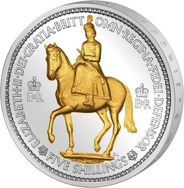 5 Shillings Großbritannien Krönung Elizabeth II. 1953 bankfrisch