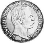 Vereinstaler Silber Ernst Herzog v. Sachsen-Altenburg 1864-69 Stempelglanz