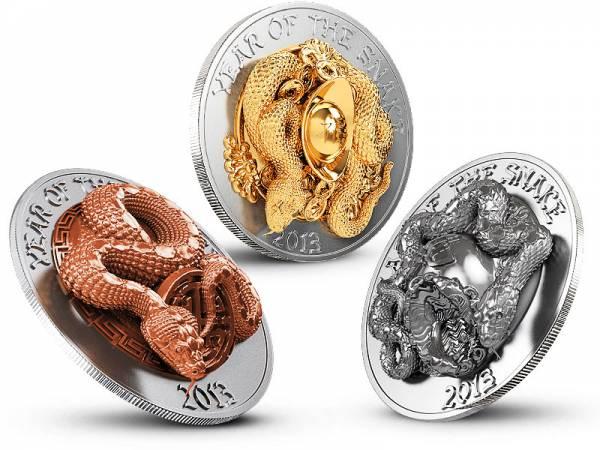 3 x 500 Francs  Ruanda Jahr der Schlange Prestige Set 2013  Stempelglanz