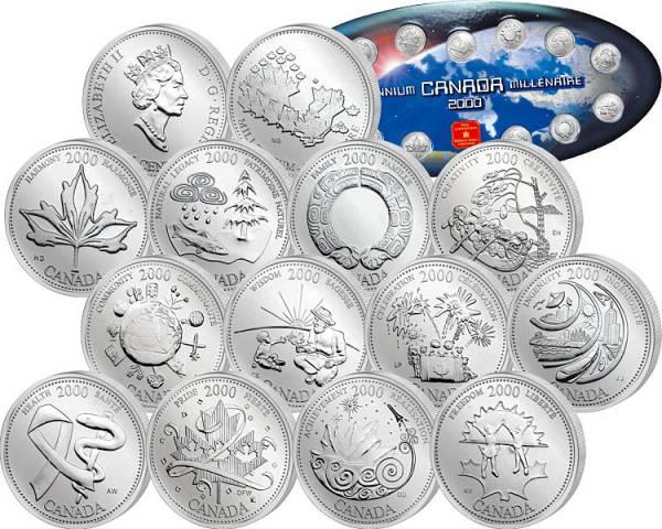 12 x 25 Cents  und Gedenkprägung Kanada Millennium-Gedenkserie  2000  Stempelglanz