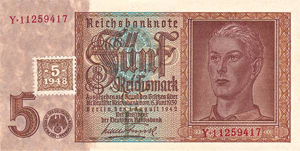 5 Mark DDR Kupon-Banknote Hitlerjugend 1948