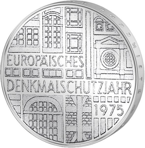 5 DM Münze BRD Europäisches Denkmalschutzjahr 1975