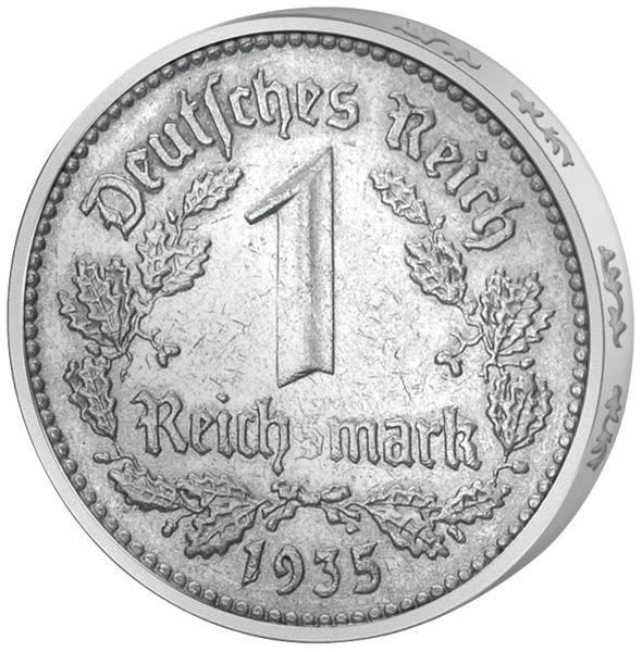 1 Mark Drittes Reich Adler 1933-1939 Sehr schön