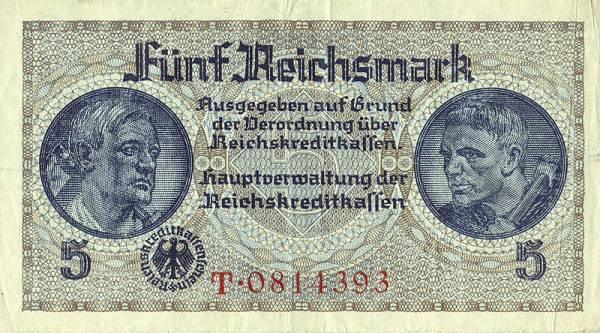 5 Reichsmark Deutschland Berliner Ehrenmal 1939 Zirkuliert