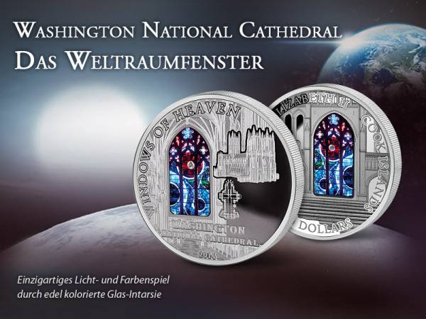 10 Dollars Cook-Inseln Washington National Cathedral Weltraumfenster 2014   Prooflike