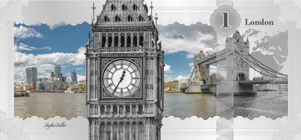 1 Dollar Cook-Inseln Skyline-Dollar London Big Ben 2017