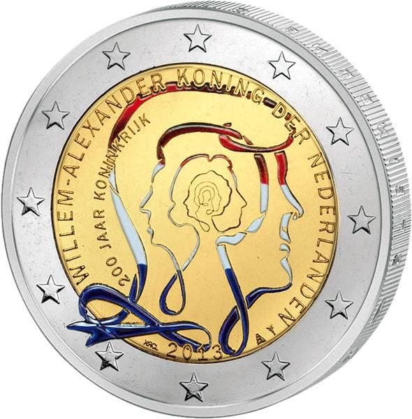2 Euro Niederlande 200 Jahre Königreich mit Farb-Applikation 2013 prägefrisch