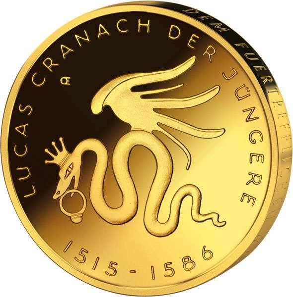 10 Euro BRD Lucas Cranach vollvergoldet 2015 Stempelglanz