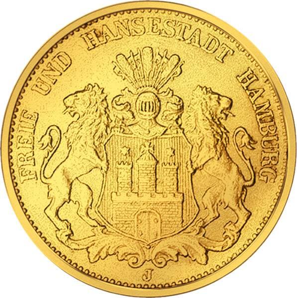 20 Mark Hamburg Stadtwappen großer Adler 1893-1913 Sehr schön