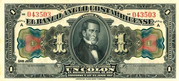 1 Colón Costa Rica Banknote 1917 kassenfrisch
