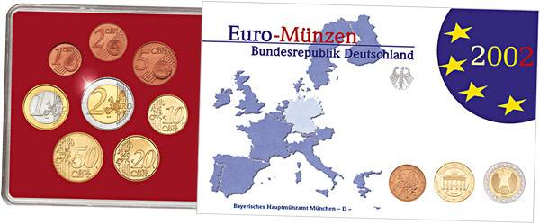 8 Werte Euro-Kursmünzensatz BRD in Polierter Platte 2002 B.u.W. Polierte Platte