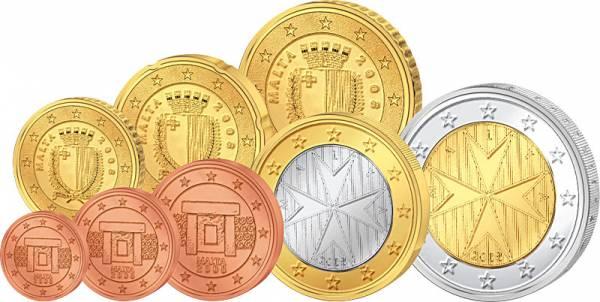 1 Cent-2 Euro (8 Werte) Kursmünzensatz Malta J.u.W. prägefrisch
