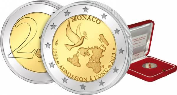 2 Euro Monaco 20 Jahre Mitglied der UN 2013 Polierte Platte