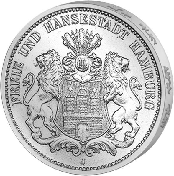 5 Mark Hamburg Wappen kleiner Adler 1875-1888 s-ss